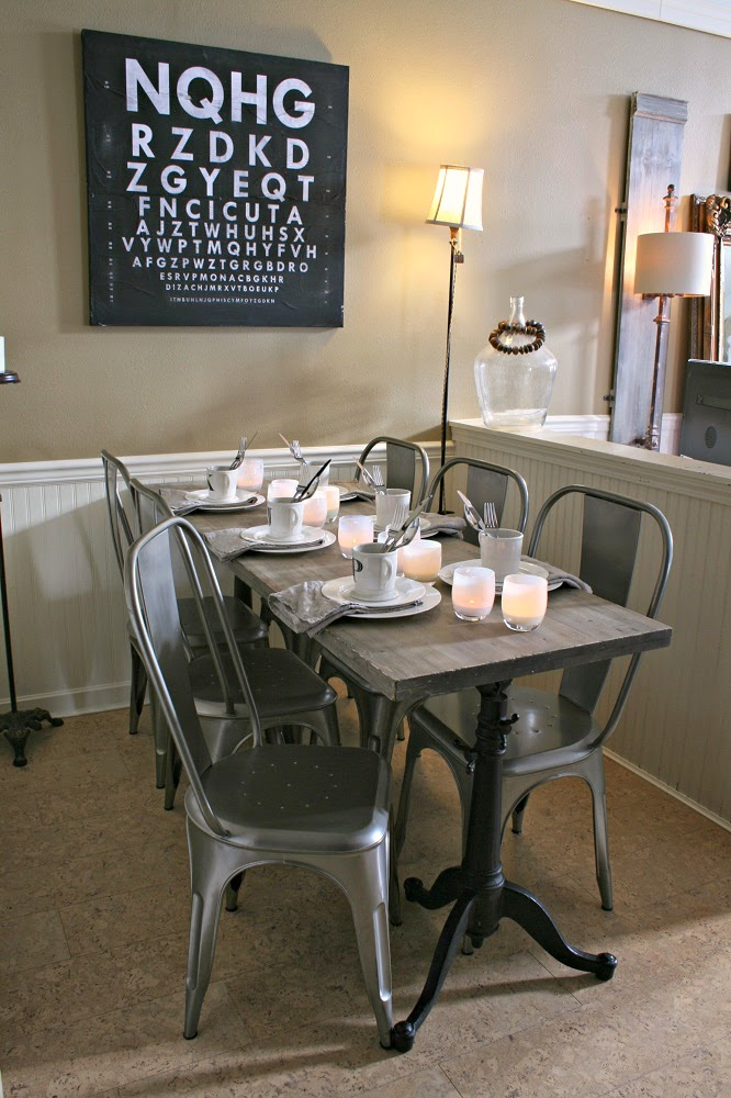 Narrow Dining Table, White Dinnerware, Metal Chairs, DIY Weathered Wood