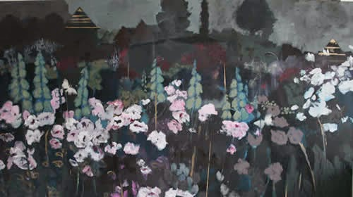 Jane Hansford garden paintings at the affordable art fair June 2014