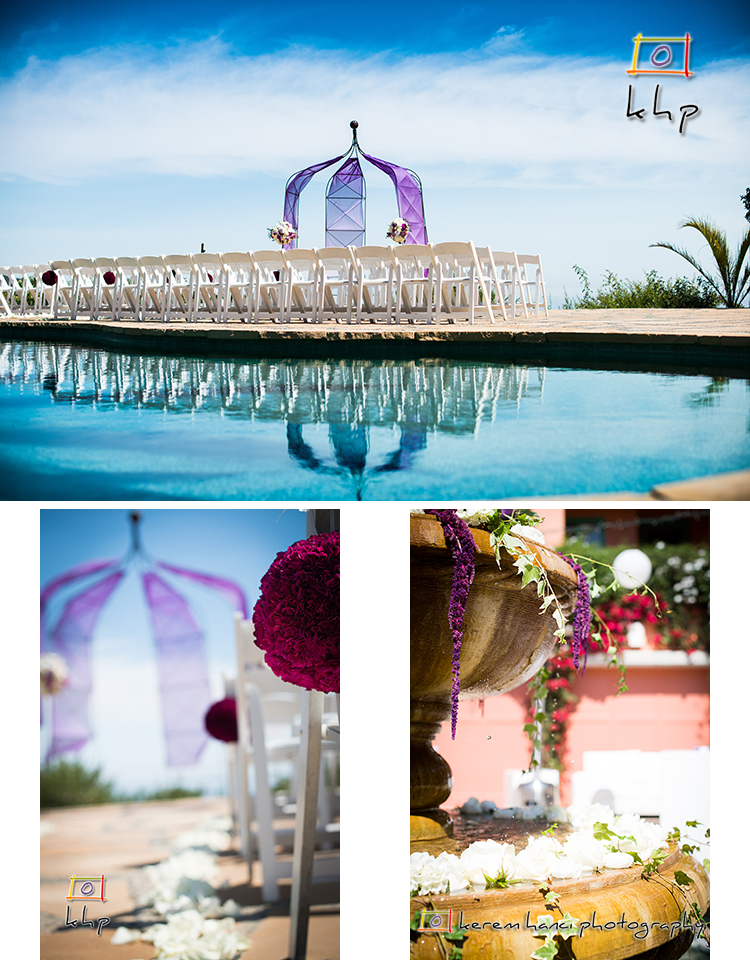 Purple and White Wedding at Rancho Sol Del Pacifico, looking at the Pacific Ocean from the top of Santa Monica Mountains
