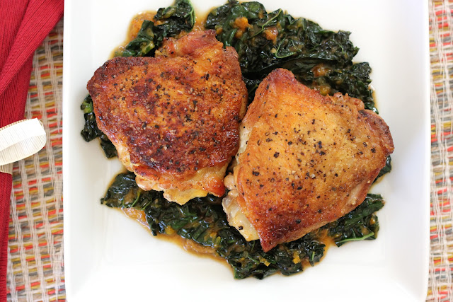 Crispy Chicken Thighs with Kale In a Clementine Sauce are perfect for ...