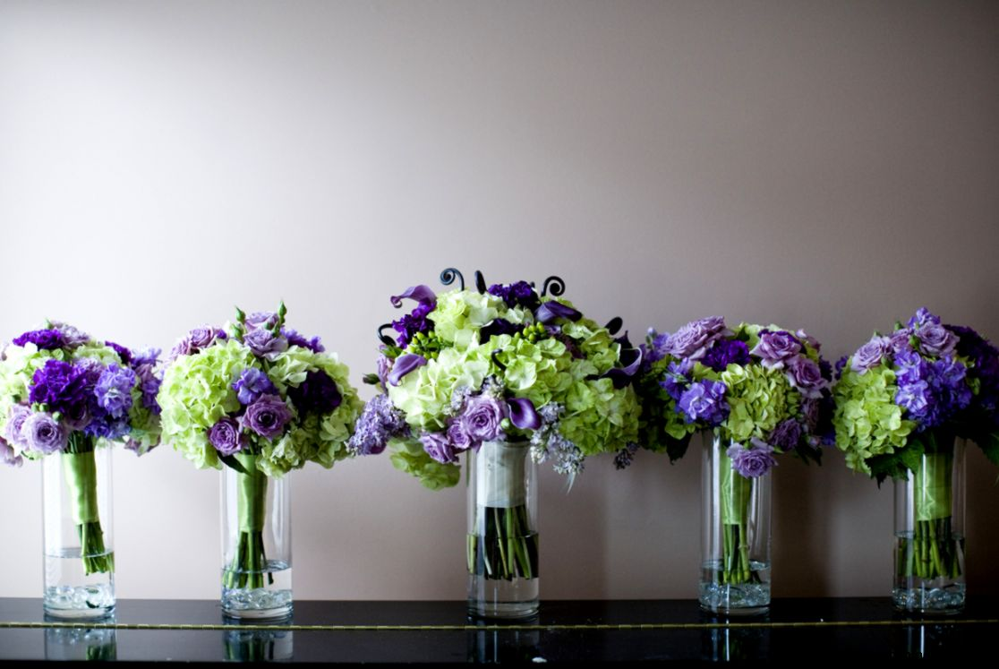 Elegant Purple Wedding Flower Arrangements For Church Matched With