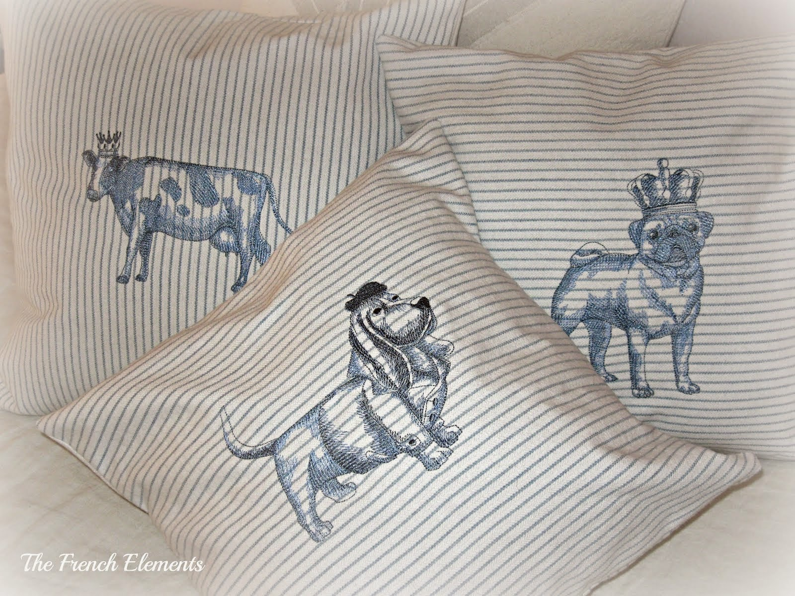 Blue and White Embroidered pillow covers