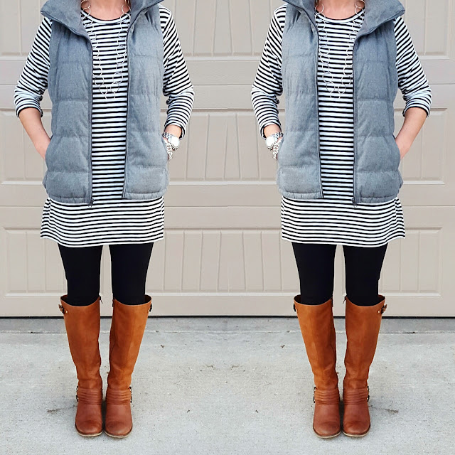 Old Navy Striped Tunic (similar) // Old Navy Fleece Lined Vest // Zella Live In Leggings - they are 25% off in bright blue and navy and here is a similar style on sale for $23 // Jessica Simpson Elmont Boots - only $33, regular $159 (select the brown pair to see this price)!!! // Michael Kors Runway Watch // Banana Republic Factory Necklace (similar)