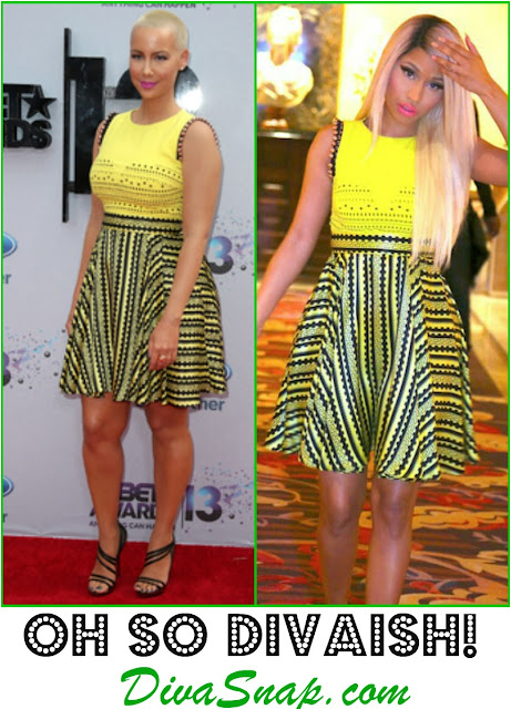 FASHION DIVA: AMBER ROSE VS. NICKI MINAJ IN YELLOW VERSACE DRESS - Diva Snap.com