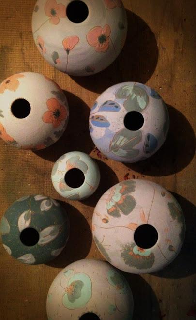 Petits vases ronds à Oiseaux