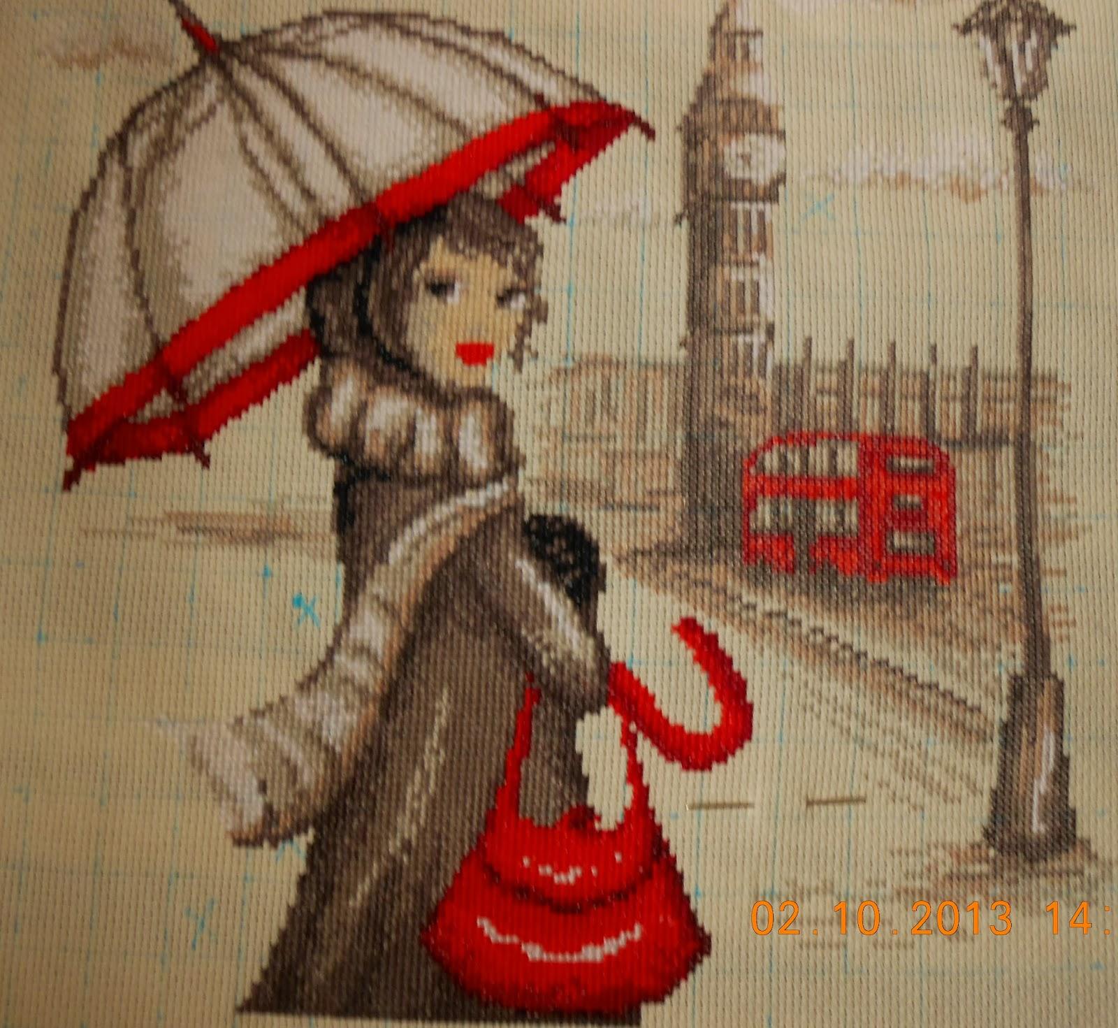Девушка с зонт вышивка