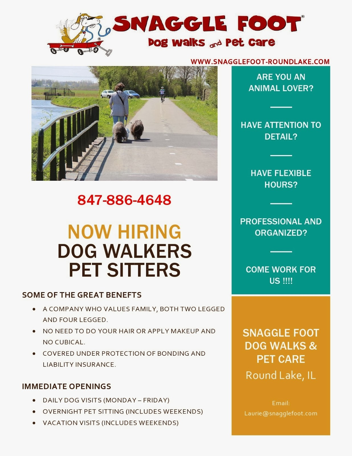 snaggle foot dog walks and pet care round lake il snaggle foot illinois area and are interested in pet sitting dog walking please apply online at snagglefoot roundlake com round lake employment html