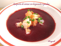 Gazpacho de cerezas con bogavante o gamba