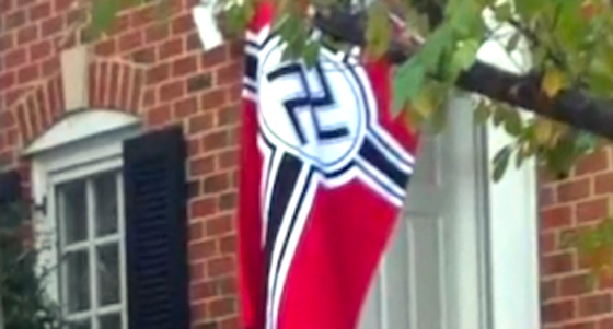 "Nazi Flag: Adorns horm in ""Nazi Town"" in New York. ((WVEC))"