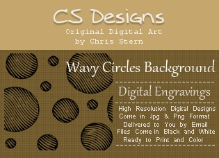 Wavy Circles digital engravings digital stamp background