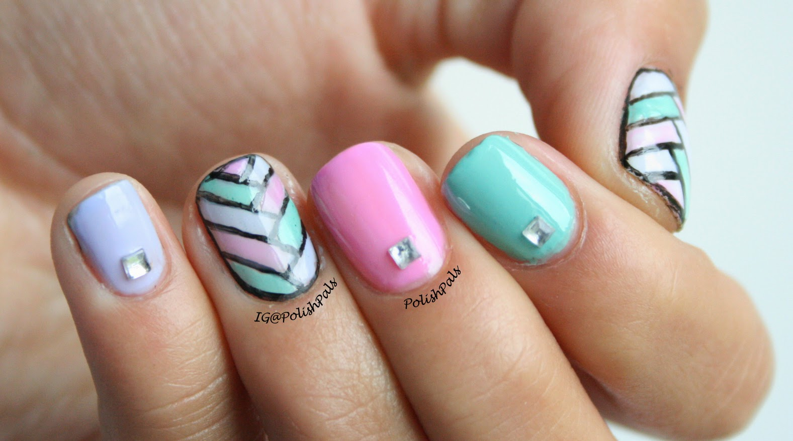 Bordered Pastel Fishtail Nail Art Tutorial