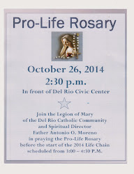 October 26, 2014: Pro-Life Rosary at 2:30 pm in front of Civic Center
