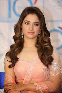Tamanna Bhatia in Lovely CUte Spicy Transparent Light Peach Saree and Choli