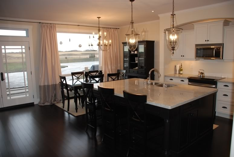 White Kitchen Dark Cabinets with Granite Countertops