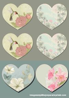 Etiquetas con formas de corazones