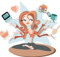 Mujer feliz Multitasking