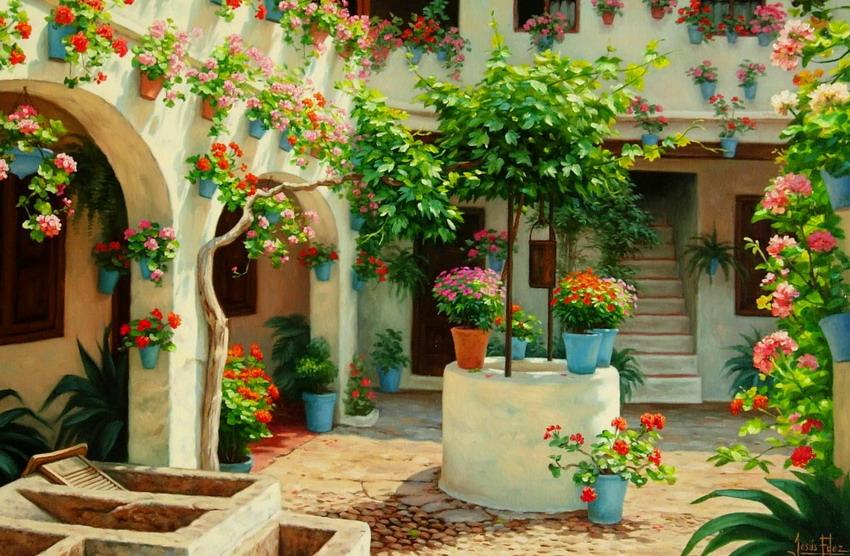 Cuadros modernos pinturas y dibujos paisajes de patios - Patios andaluces decoracion ...