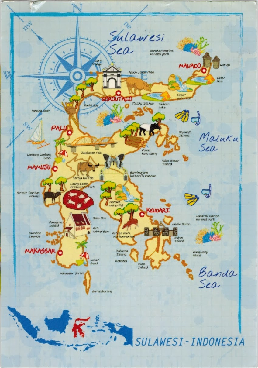 Map Cards Hunting 0272 Indonesia Sulawesi