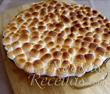 receita especial de torta com batata doce e cobertura de marshmallow gratinado