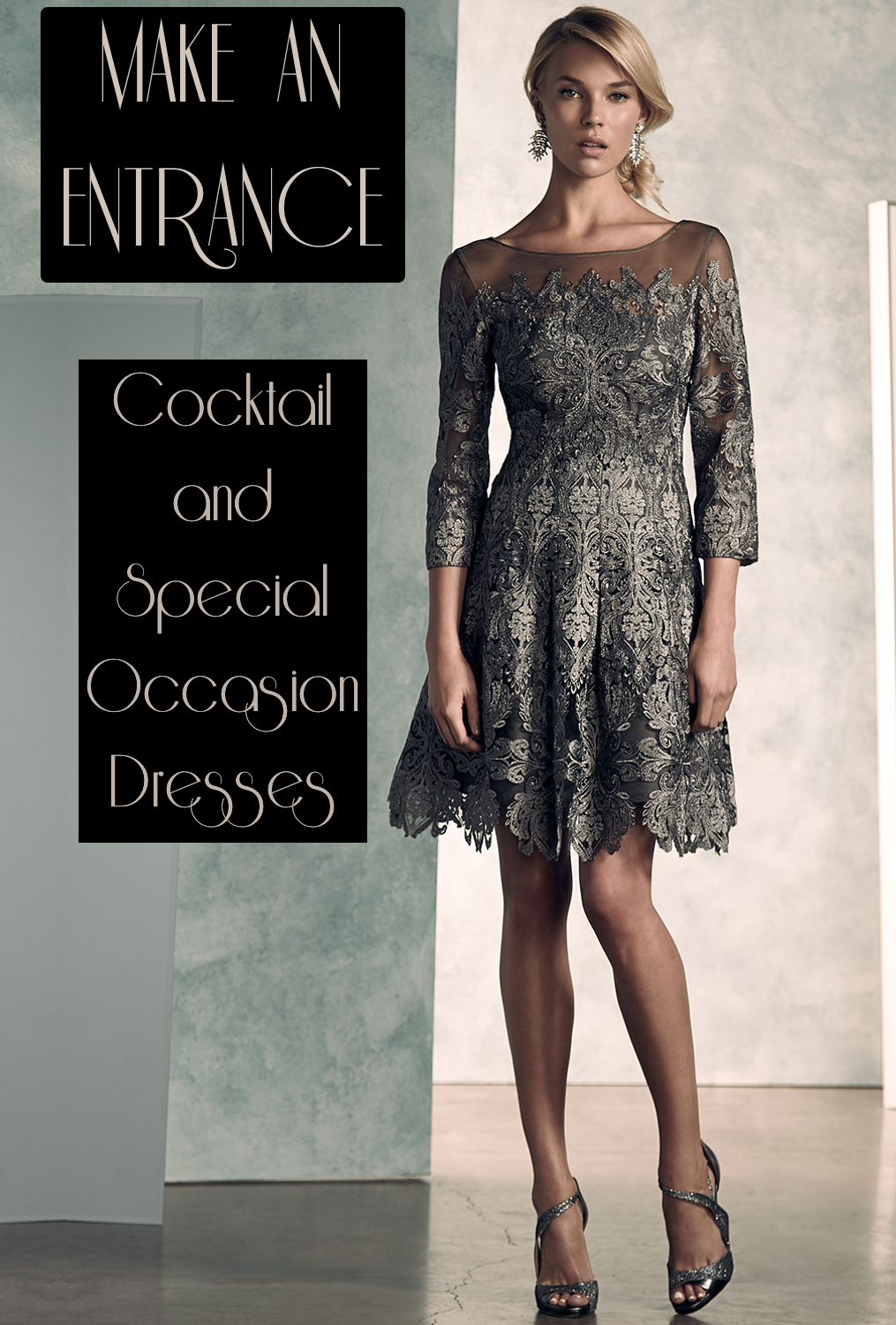 Kay Unger New York 3/4-Sleeve Lace A-line Cocktail Dress