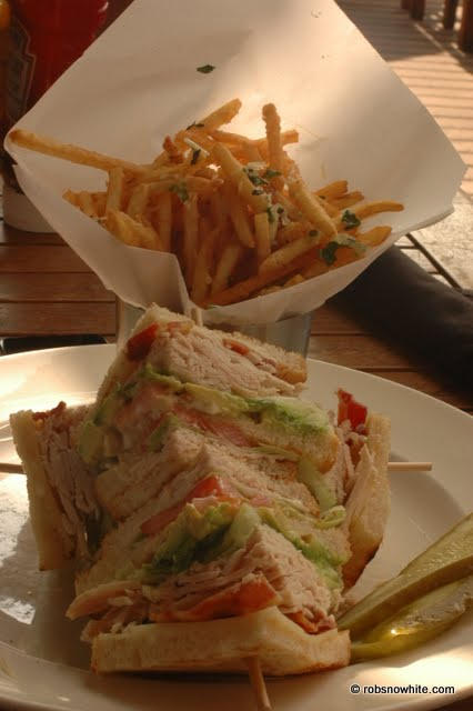 yard house club sandwich with truffle fries