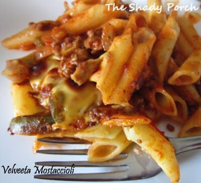 A delicious cheesy pasta casserole...Velveeta Mostaccioli