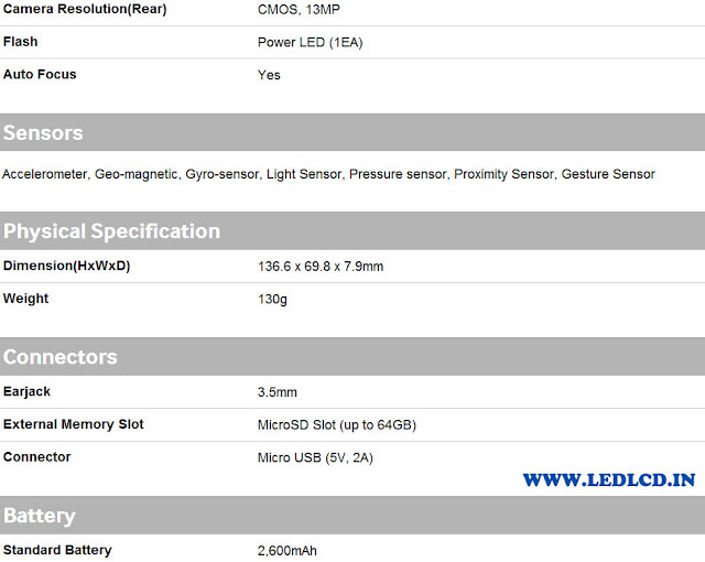 Galaxy S4 i9500 Specifications