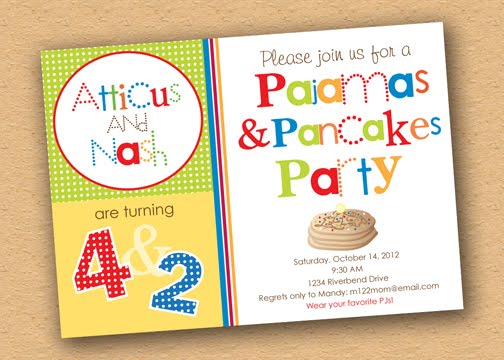 Pancakes pajamas birthday party inspiration adorable party the invitation i designed for her filmwisefo