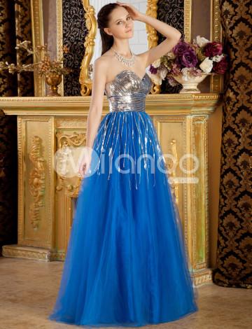 Royale Sweet Blue Net bretelles A-ligne Longueur au sol robe de bal
