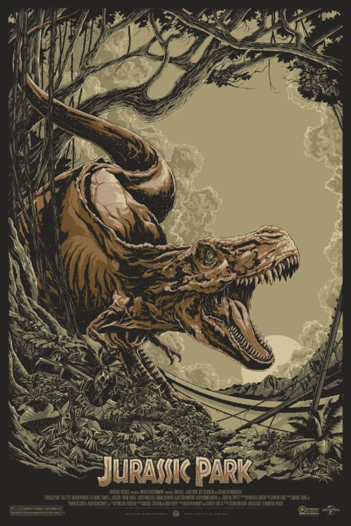 Ken Taylor illustrations movie posters silkscreen Jurassic Park