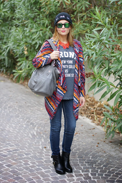 bronx t-shirt, bad hair day beanie, Givenchy nightingale, carmens padova, biker boots,  aztec coatigan, Fashion and Cookies, fashion blogger