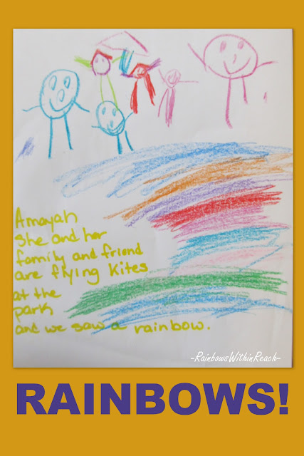 photo of: child's drawing, rainbow drawing, preschool, Head Start, fine motor development