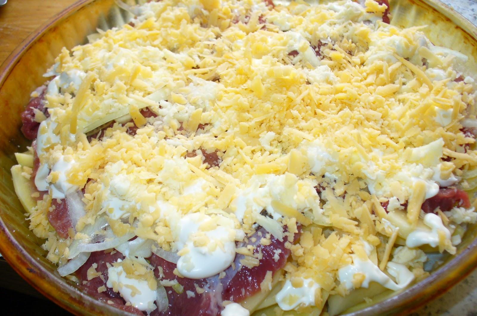 мясо по французски, картофель сыр