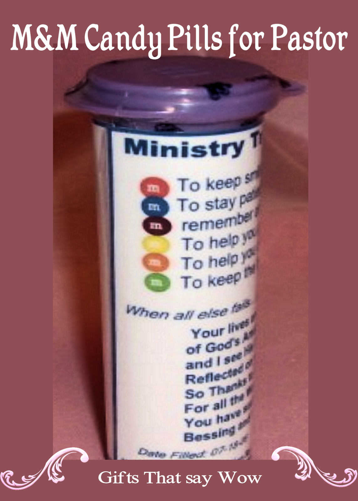 Gifts that say wow fun crafts and gift ideas m ms candy i made these ministry tranquilizers using m m candy in a round canister it is so much fun watching your pastor or church leaders read the bottle and is a negle Gallery