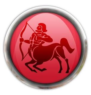 Centauro de Sagitario dentro de un botón rojo