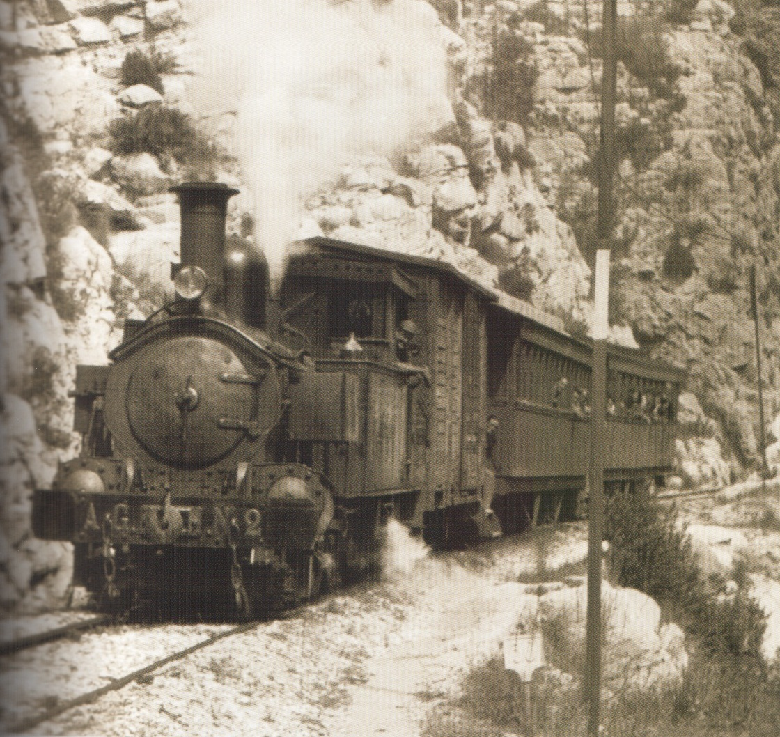 Locomotora número 2 Villalonga pel barranc de l'Infern