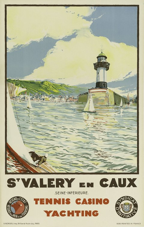 classic posters, free download, graphic design, retro prints, travel, travel posters, vintage, vintage posters, french poster, St. Valery en Caux, Seine-Maritime, Tennis Casino Yachting - Vintage France Travel Poster
