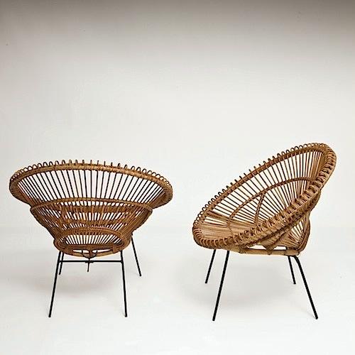 galerie riviera fauteuils rotin soleil ann es 50 50s rattan basket chairs. Black Bedroom Furniture Sets. Home Design Ideas