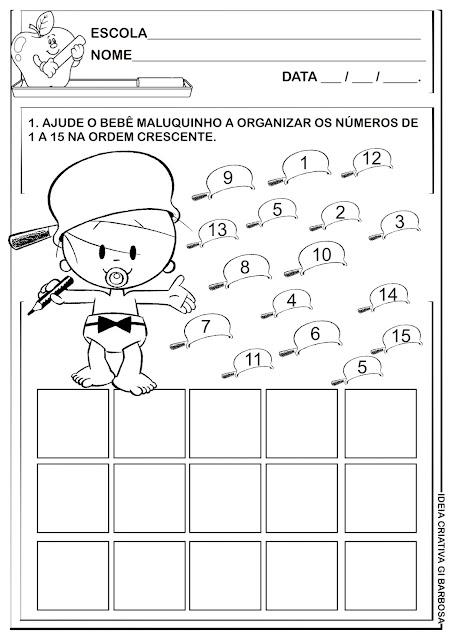 Atividade Números de 1 a 15 Bebê Maluquinho