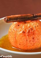 Mandarinas caramelizadas con coulis de mandarina y canela