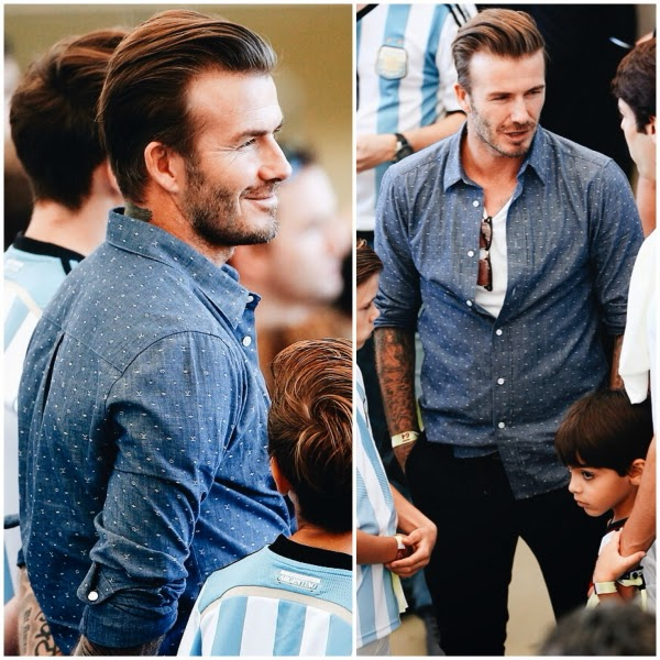 David Beckham in blue Louis Vuitton denim chambray monogram shirt at 2014 FIFA World Cup Brazil Final match between Germany and Argentina at Maracana on 13 July 2014 in Rio de Janeiro Brazil