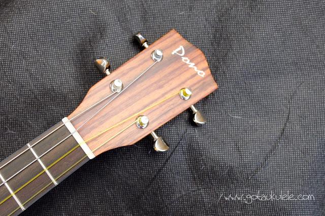 Pono MB-e Baritone ukulele headstock