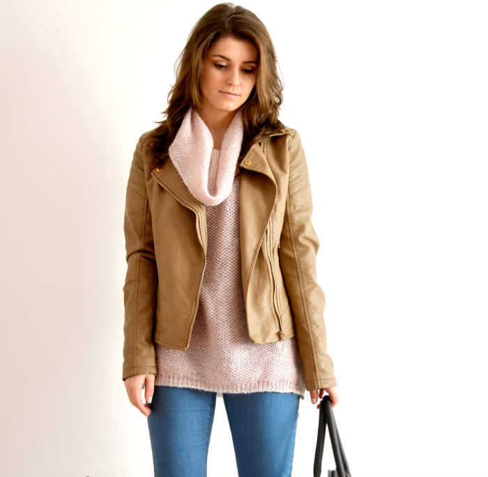 soft pastel outfit with pink sweater and tan jacket