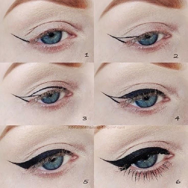 maquillaje de ojos colores naturales con delineador negro y con delineador color blanco para un look dulce