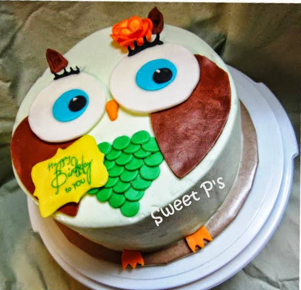 Owl cake with paper covered board