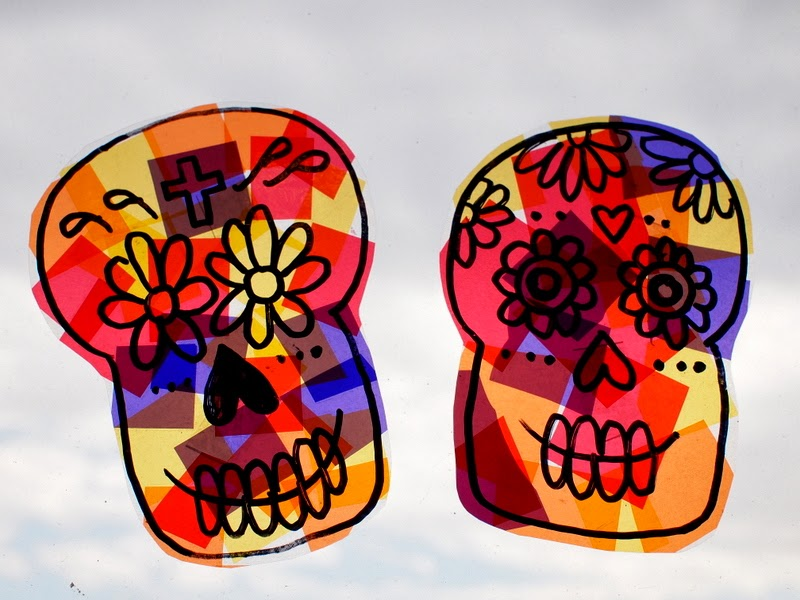 Make sugar skull sun catchers and crystallized sugar skull for Day of the dead crafts for preschoolers