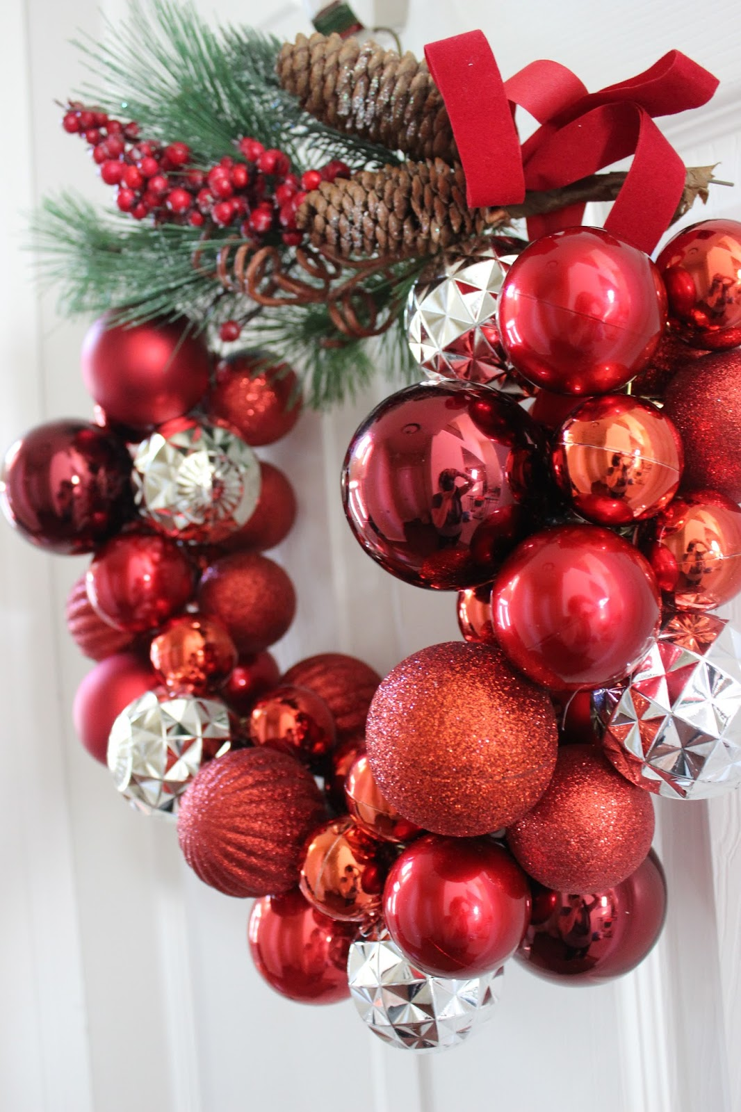 How to Make a Christmas Ornament Wreath With a Wire Hanger | Delightfully Noted