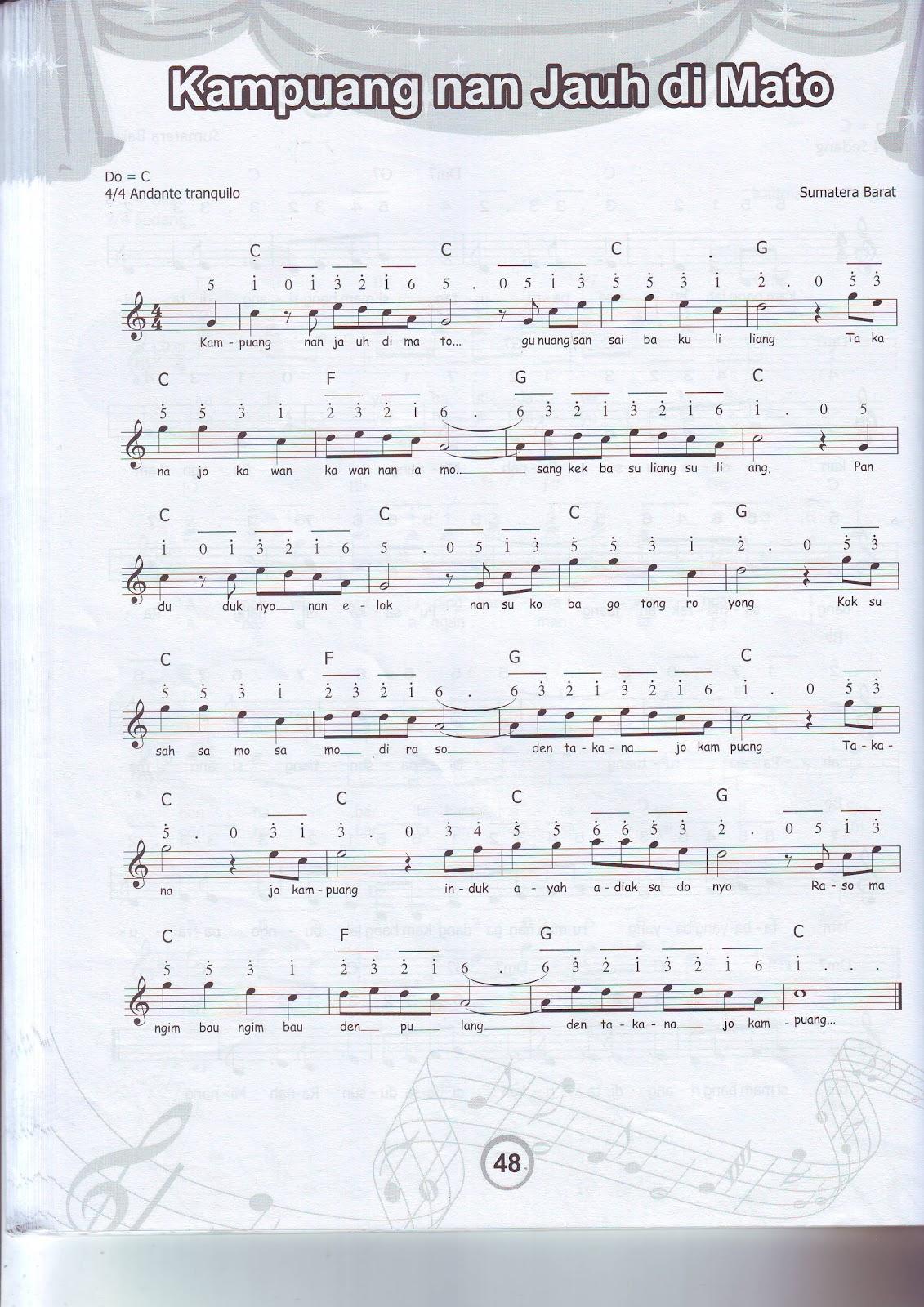... Pelangi Nusa: Not Balok dan Angka, Lagu: