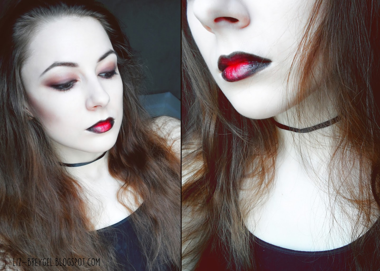 Halloween Makeup step by step tutorial, sexy red  lips step by step tutorial blogger gothic makeup