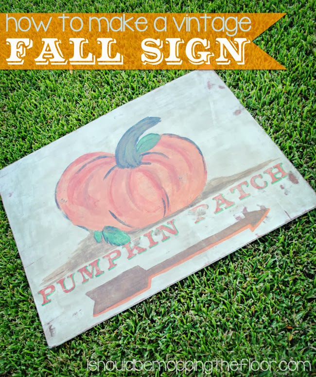 Step-by-step detailed tutorial on how to create a vintage fall sign, using mostly items you may have on hand.